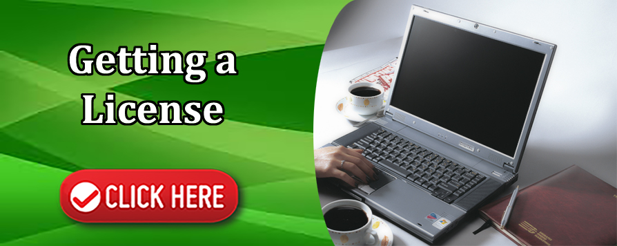 This is an interactive image. This is an image of a person using a computer with the words Getting a License Click Here