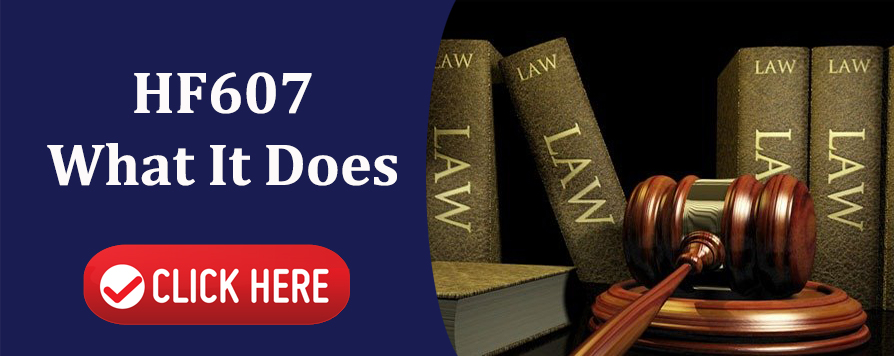 This is an interactive image. This is an image of a gavel and law books with the words HF607 What it does click here