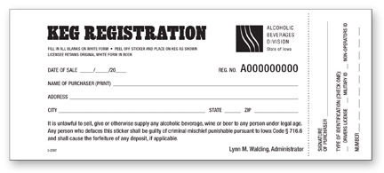 Picture of a Keg Registration card from the ABD
