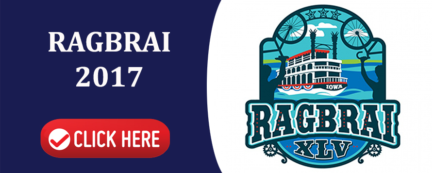This is an interactive image. This is an image of the 2017 RAGBRI biking logo with a Click Here button